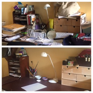 Desk before and after